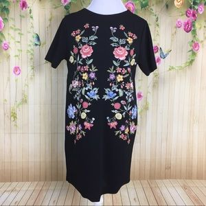 Zara Woman Black Floral Dress Size XL NWOT